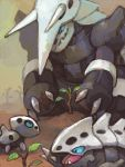 aggron aron d&p family height_difference lairon no_humans open_mouth plant pokemon pokemon_(creature) tegaki