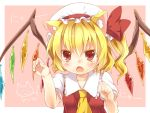 1girl animal_ears ascot blonde_hair blush bow cat_ears clenched_hand colored_eyelashes fang female flandre_scarlet frown hands hat hat_bow kemonomimi_mode maruki_(punchiki) nyan open_mouth paw_pose red_eyes short_hair side_ponytail solo touhou upper_body wings