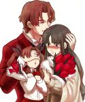 1boy 2girls black_hair blush bouquet brown_hair child covering_eyes facial_hair family fate/zero fate_(series) father flower formal goatee hand_on_another's_head long_hair mother multiple_girls sanadamaru suit tohsaka_aoi tohsaka_rin tohsaka_tokiomi tulip twintails younger