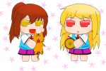 2girls aoyama_nanami artist_request baumkuchen blonde_hair brown_hair cat chibi long_hair multiple_girls parody ponytail puchimasu! red_eyes sakura-sou_no_pet_na_kanojo school_uniform shiina_mashiro stuffed_animal stuffed_tiger stuffed_toy style_parody tagme tiger yellow_eyes