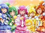 5girls :3 :d ^_^ aoki_reika blonde_hair blue_hair blue_skirt blush blush_stickers bow candy_(smile_precure!) choker closed_eyes creature cure_beauty cure_happy cure_march cure_peace cure_sunny dress earrings green_hair hair_tubes head_wings hino_akane_(smile_precure!) hoshizora_miyuki jewelry kise_yayoi kisuke_(akutamu) long_hair magical_girl midorikawa_nao multiple_girls open_mouth orange_hair orange_skirt pink_bow pink_hair ponytail pop_(smile_precure!) precure shorts shorts_under_skirt skirt smile smile_precure! tiara tri_tails twintails wrist_cuffs yellow_bow