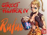 1girl blonde_hair blue_eyes braid breasts capcom catsuit ear_studs earrings eating fingerless_gloves genderswap genderswap_(mtf) gloves jewelry large_breasts long_hair nikuji-kun no_bra popcorn rufus_(street_fighter) single_braid street_fighter street_fighter_iv street_fighter_iv_(series) stud_earrings tattoo unzipped
