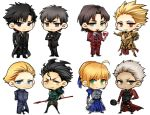 1girl 6+boys ahoge alcohol archer armor armored_dress bad_id black_eyes black_hair blonde_hair blue_eyes brown_eyes brown_hair chibi cup dress drinking_glass earrings emiya_kiritsugu fate/stay_night fate/zero fate_(series) formal frying_pan gae_dearg gilgamesh green_eyes jewelry kayneth_archibald_el-melloi kotomine_kirei lancer_(fate/zero) mitsuki_mitsuno mole multiple_boys polearm red_eyes saber spear suit tohsaka_tokiomi toosaka_tokiomi weapon white_hair wine wine_glass yellow_eyes