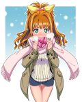 1girl blush bow bowieknife breath brown_hair chocolate chocolate_heart green_eyes hair_bow hair_ornament heart heart-shaped_pupils hino_akane_(idolmaster) idolmaster idolmaster_cinderella_girls long_hair scarf shorts snowing solo sweater symbol-shaped_pupils thigh_gap thighs valentine yellow_bow