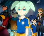 5boys blue_hair brown_hair fei_rune gloves goggles green_eyes green_hair inazuma_eleven_(series) inazuma_eleven_go inazuma_eleven_go_chrono_stone kidou_yuuto lightning_bolt male_focus mizuhara_aki multiple_boys necktie older raimon raimon_soccer_uniform saryuu_evan soccer_uniform sportswear tsurugi_kyousuke yellow_eyes zanak_abalonic