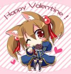 1girl animal_ears blush_stickers brown_hair cat_ears cat_tail chibi chocolate happy_valentine heart one_eye_closed red_eyes short_hair short_twintails silica silica_(sao-alo) sword_art_online tail thigh-highs tougo twintails valentine wink
