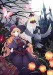 1girl bird blonde_hair cat dress gloves green_eyes hat highres long_hair original parrot sachi_(yumemayoi) witch witch_hat