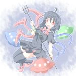 1girl asymmetrical_wings black_dress black_hair dress female houjuu_nue polearm red_eyes shino_megumi short_hair simple_background solo thigh-highs touhou trident ufo weapon wings zettai_ryouiki
