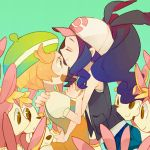 10s 2girls baseball_cap bel_(pokemon) beret blonde_hair blush brown_hair closed_eyes deerling green_eyes hagiko hat high_ponytail hug multiple_girls pokemon pokemon_(game) pokemon_bw surprised touko_(pokemon) yuri