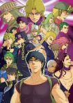 1girl 6+boys anchor_(symbol) backpack bag battle_tendency black_hair blue_hair chains dark_skin dark_skinned_male diamond_is_not_crash diavolo diego_brando dio_brando double_bun enrico_pucci everyone family funny_valentine gakuran giorno_giovanna green_eyes green_hair green_lipstick grey_hair gyro_zeppeli hat horseshoe johnny_joestar jojo_no_kimyou_na_bouken jonathan_joestar joseph_joestar joseph_joestar_(young) kars_(jojo) kira_yoshikage kuujou_jolyne kuujou_joutarou lipstick long_hair makeup multicolored_hair multiple_boys muscle nephew peaked_cap phantom_blood pink_hair pompadour scarf school_uniform star_(symbol) stardust_crusaders steel_ball_run stone_ocean striped striped_scarf two-tone_hair vento_aureo very_short_hair white_hair