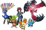 10s 1boy calme_(pokemon) chespin fennekin froakie hideomi hidewomi lowres pixel_art pokemon pokemon_(game) pokemon_xy xerneas yveltal