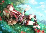 1girl animal ankle_wraps anklet barefoot basket brown_hair butterfly deer dress feet flower food fruit gloves grass jewelry leg_warmers long_hair low_twintails lying nature nekozuki_yuki on_back original petals red_eyes sash shorts smile solo traditional_clothes twintails wrist_wraps