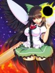 highres large_breasts long_hair red_eyes reiuji_utsuho shuz_(dodidu) solo thigh-highs thighhighs touhou very_long_hair wings zettai_ryouiki