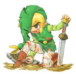 blonde_hair blood boots brown_eyes cuts ezlo hat injury kneeling link male minish_cap nintendo open_mouth pantyhose pointy_ears shield sword tears the_legend_of_zelda toon_link torn_clothes tunic usikani weapon