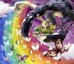 butterfly jojo's_bizarre_adventure jojo_no_kimyou_na_bouken kujo_jolyne kuujou_jolyne midriff rainbow rainbow_path saitoo_(ruden)