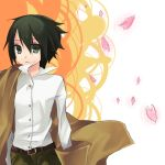 androgynous bad_id coat green_eyes green_hair hanasaki_mahiru kino kino_no_tabi petals reverse_trap short_hair solo