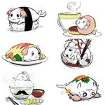 animalization bowl chopsticks cup doughnut egg facial_hair food gomadoka hair_ribbon ice_cream kaname_madoka mahou_shoujo_madoka_magica miso mukiki mustache no_humans octopus_sausage pink_hair pocky ribbon rice seal seaweed short_twintails sushi takuan tamutamu-t teacup twintails