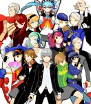 6+boys 6+girls aegis aegis_(persona) amagi_yukiko androgynous android atlus bald bandaid cabbie_hat cardigan chair clenched_hand crossdressing elizabeth_(persona) everyone fan folding_chair gun hanamura_yousuke hat headset igor jacket jacket_on_shoulders katana kirijou_mitsuru knife kujikawa_rise kuma_(persona) kuma_(persona_4) labrys long_hair long_nose looking_at_viewer looking_away margaret margaret_(persona) megami_tensei multiple_boys multiple_girls narukami_yuu no_legwear oekaki old_man persona persona_3 persona_4 persona_4:_the_ultimate_in_mayonaka_arena piriri pointy_ears reverse_trap sanada_akihiko satonaka_chie scar school_uniform shin_megami_tensei shirogane_naoto short_hair standing sword tatsumi_kanji track_jacket weapon yamagishi_fuuka