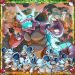 building city destruction fire highres nidoking nidorina no_humans open_mouth poke_ball pokemon pokemon_(creature) red_eyes sharp_teeth signature teeth tom_kyster