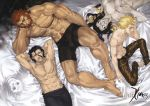4boys 6+boys abs ahoge armor assassin_(fate/zero) barefoot beard bed_sheet berserker_(fate/zero) black_hair blonde_hair boxers caster_(fate/zero) facial_hair fate/zero fate_(series) gilgamesh highres lancer_(fate/zero) logo male_focus multiple_boys muscle official_art pillow redhead rider_(fate/zero) saber shinjirou shirtless skull_mask smoke snakeskin under_covers underwear