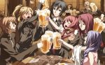 5girls 6+boys ahoge alcohol beatrice_waltrud_von_kircheisen beer beer_mug dies_irae drunk eleonore_von_wittenburg g_yuusuke german highres lotus_reichhart military military_uniform multiple_boys multiple_girls ranguage riza_brenner rusalka_schwagerin text translated uniform valeria_trifa waltrud_von_kircheisen wilhelm_ehrenburg wolfgang_schreiber