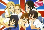 6+girls :d absurdres adjusting_glasses akiyama_mio animage bespectacled black_eyes black_hair blonde_hair blue_eyes brown_eyes brown_hair d: dress_shirt english eyebrows flag glasses hair_ornament hairband hairclip hand_on_own_cheek highres hime_cut hirasawa_yui horiguchi_yukiko k-on! k-on!_movie kotobuki_tsumugi long_hair lying manabe_nodoka multiple_girls nakano_azusa official_art on_back open_mouth red-framed_eyewear red-framed_glasses round_teeth scan school_uniform semi-rimless_glasses shirt shoes short_hair skirt smile sweater_vest tainaka_ritsu teeth twintails union_jack united_kingdom uwabaki
