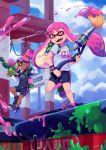 2girls artist_name blue_sky clouds dark_skin domino_mask fangs goggles goggles_on_head grin inkling mask multiple_girls open_mouth orange_eyes paint_splatter pink_eyes pink_hair pointy_ears ponytail shirt shoes signature sky smile sneakers splatoon structure suikka super_soaker t-shirt tentacle_hair