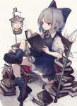 1girl blue_dress blue_eyes blue_footwear blue_hair book book_stack boots bow chair cirno dress hair_bow highres hito_komoru holding holding_book ice ice_wings lanturn puffy_short_sleeves puffy_sleeves reading short_hair short_sleeves solo touhou wings