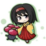 00s 1girl black_hair blush erika_(pokemon) grey_eyes gym_leader hairband japanese_clothes kimono lowres pokemon pokemon_(game) pokemon_frlg sandals short_hair skirt smile vileplume yanagi_(nurikoboshi)