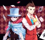 1boy 1girl blue_cape blue_eyes blue_hat blue_necktie brooch brown_eyes brown_hair cape card collared_shirt earrings formal gloves gyakuten_saiban hat janelle jewelry magician naruhodou_minuki necktie odoroki_housuke pants playing_card red_vest scarf shirt short_hair signature sleeves_rolled_up smile suit top_hat vest