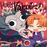 2boys ^_^ black_eyes chibi closed_eyes fate/zero fate_(series) grey_hair heart heart_hands heart_hands_duo lowres mao_yu monster multiple_boys neko_sakana orange_hair tentacle uryuu_ryuunosuke valentine