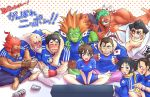 3girls 6+boys alcohol asahi asahi_(beer) beer bike_shorts black_hair blanka blush brown_eyes brown_hair capcom choker closed_eyes drunk edmond_honda facepaint fingerless_gloves flag gloves gouki green_hair green_skin hakan headband heart hibiki_dan hug ibuki_(street_fighter) japanese_flag kasugano_sakura makoto_(street_fighter) multiple_boys multiple_girls open_mouth orange_hair pointing ponytail red_eyes redhead ribbon_choker ryuu_(street_fighter) sagattoru scarf shirt short_hair sitting soccer soccer_uniform sportswear street_fighter street_fighter_iii street_fighter_iii:_3rd_strike street_fighter_iv street_fighter_iv_(series) t-shirt takoyaki topknot translated watching_television white_hair world_cup