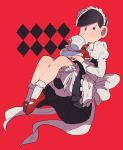 bad_id bad_pixiv_id berobero crossdressing cup looking_to_the_side maid matsuno_osomatsu osomatsu-kun osomatsu-san sipping teacup