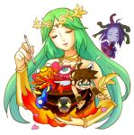 1boy 2girls bare_shoulders choker closed_eyes crown fire goddess green_hair jewelry kid_icarus kid_icarus_uprising long_hair lots_of_jewelry medusa_(kid_icarus) molten_rock multiple_girls palutena pit_(kid_icarus) smile stylus wrist_guards
