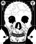 5girls fine_art_parody flower fuura_kafuka gammatelier hanged itoshiki_nozomu japanese_clothes kimono kitsu_chiri komori_kiri l'amour_de_pierrot monochrome multiple_girls optical_illusion parody rose sayonara_zetsubou_sensei shadow skull tsunetsuki_matoi when_you_see_it
