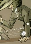 1boy all_fours big_boss box cardboard_box crocodile crocodilian english formal hal_akane highres medal metal_gear_(series) metal_gear_solid necktie translated