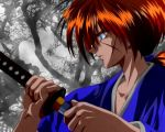 1boy blue_eyes collarbone fingernails himura_kenshin japanese_clothes katana kimono long_hair ponytail profile redhead rurouni_kenshin scar solo sword tree verter weapon