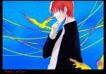 1boy bird black_eyes earrings fate/zero fate_(series) gakuran hand_on_own_chin jewelry male_focus mishina_nao profile redhead school_uniform solo uryuu_ryuunosuke