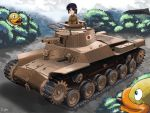 1girl antennae artist_name bird black_hair brown_eyes caterpillar_tracks cyber_(cyber_knight) duck ground_vehicle hachimaki headband military military_vehicle motor_vehicle short_hair tank tree type_97_chi-ha weapon world_of_tanks world_war_ii