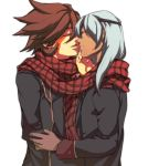 2boys closed_eyes genda_koujirou inazuma_eleven inazuma_eleven_(series) inazuma_eleven_go male_focus multiple_boys sakuma_jirou scarf shiro_(reptil) white_background yaoi