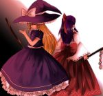 2girls back-to-back blonde_hair bow female gohei hakurei_reimu hakurei_reimu_(pc-98) hat japanese_clothes kimono kirisame_marisa kirisame_marisa_(pc-98) kizoku-chan long_hair miko multiple_girls purple_hair smile touhou wizard_hat yellow_eyes