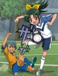 1boy 1girl ball crossover fukushima_masaru green_eyes green_hair gym_shorts highres inazuma_eleven inazuma_eleven_(series) inazuma_eleven_go kariya_masaki lightning_bolt midorikawa_nao playing ponytail precure raimon smile_precure! soccer soccer_ball soccer_field soccer_uniform sportswear tree uniform yellow_eyes