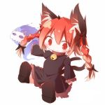 1girl animal_ears bow braid cat_ears cat_tail chibi daidai_ookami dress female hair_bow highres kaenbyou_rin long_hair multiple_tails red_eyes redhead short_hair solo tail touhou twin_braids