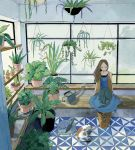 1girl blue_dress boots brown_hair cactus cat chiruda closed_eyes dress fern gardening green greenhouse long_hair looking_down original plant solo summer watering_can