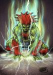 1boy abs all_fours blanka capcom chest_hair electricity green_skin long_hair male_focus muscle orange_hair shaded_face shorts solo spiky_hair squatting street_fighter wakabee