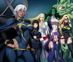 6+girls armor_(x-men) black_hair blonde_hair blue_eyes breast_envy breasts brown_eyes butcha-u carol_danvers cleavage crossed_arms dark_skin earrings emma_frost green_eyes green_hair green_skin hand_on_hip hips huge_breasts jennifer_walters jewelry large_breasts leotard lips lipstick makeup marvel mature ms._marvel ms_marvel multiple_girls muscle navel pantyhose psylocke purple_hair purple_lips purple_lipstick red_lips red_lipstick she-hulk shiny shiny_skin shuma_gorath silver_hair size_difference smile squatting storm_(x-men) tentacle thick_lips thick_thighs thigh-highs thighs violet_eyes white_hair x-men zettai_ryouiki