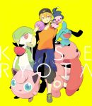 1boy azuma_seiji bad_id blonde_hair ditto gardevoir garvidor hat jigglypuff kise_ryouta kuroko_no_basuke lickitung looking_at_viewer mime_jr. pokemon pokemon_(creature) shoes short_hair smile tennis_shoes wristband yellow_eyes