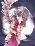 1girl bow bowtie brown_jacket covering_mouth dress feathered_wings grey_hair grey_wings hand_over_own_mouth jacket kishin_sagume looking_at_viewer nakukoroni open_clothes open_jacket purple_dress red_eyes single_wing solo touhou wings