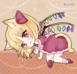 :3 all_fours animal_ears blonde_hair bow cat_ears cat_tail flandre_scarlet hair_bow ichinose_aki looking_back lowres paw_pose pink_legwear puffy_short_sleeves puffy_sleeves red_bow red_eyes red_shoes red_skirt red_vest shoes short_sleeves single_wrist_cuff skirt smile tail touhou twitter_username vest white_bow wings