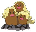 alolan_dugtrio blonde_hair commentary highres official_art pink_nose pokemon pokemon_(game) pokemon_sm